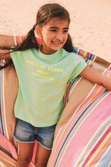 Lime Green Positive Slogan T-Shirt (3-16yrs)