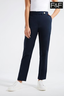 F&F Navy Cotton Viscose Trousers