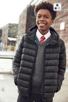 Black Shower Resistant Puffer Jacket (3-16yrs)