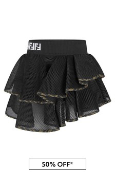 Black Girls Black Mesh Ruffle Skirt