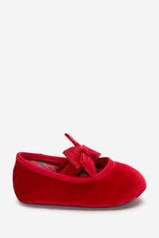 Red Velvet Mary Jane Baby Shoes (0-18mths)
