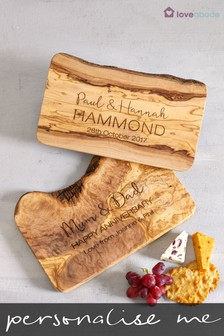 Personalised Olivewood Cheese Board by Loveabode