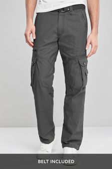 Charcoal Belted Tech Cargo Trousers