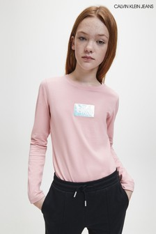 Calvin Klein Jeans Pink Monogram Badge Long Sleeve T-Shirt