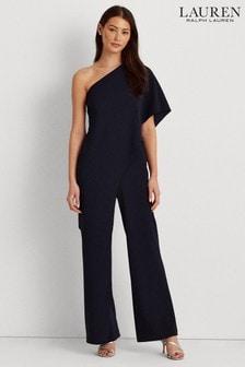 Lauren Ralph Lauren® Navy One Shoulder Double Layer April Jumpsuit