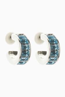 Silver Plated Blue Baguette Hoop Earrings