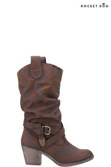 Rocket Dog Brown Sidestep Mid Calf Western Boots
