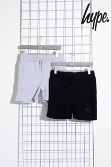 Hype. Black/Grey Two Pack Kids Shorts