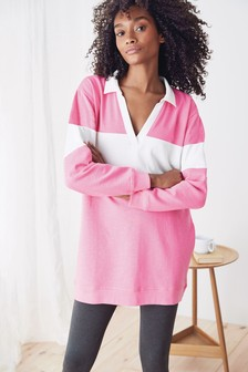 Pink Cotton Blend Rugby Pyjama Set