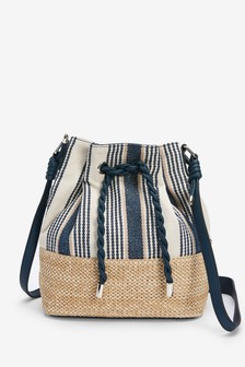Blue/White Material Mix Drawstring Bucket Bag