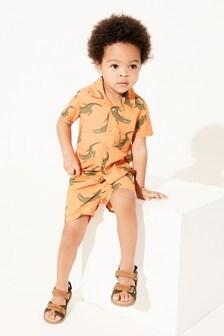 Orange Crocodile Print Shirt & Short Set Cotton Short Sleeve (3mths-7yrs)