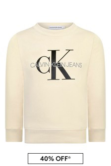 Kids Ivory Organic Cotton Logo Sweater