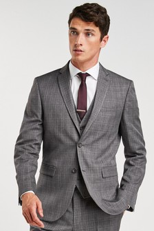 Grey Jacket Check Slim Fit Suit