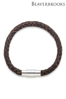 Beaverbrooks Brown Leather Men's Bracelet