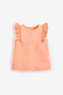 Fluro Coral Broderie Frill Vest (3mths-8yrs)