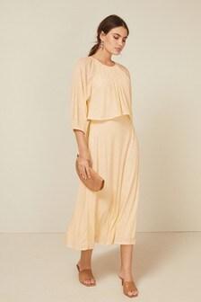 Cream Sequin Tier Midi Dress