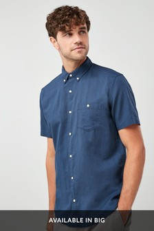 Navy Regular Fit Linen Blend Short Sleeve Shirt