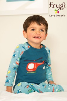 Frugi GOTS Organic Pyjamas With Helicopter Appliqué Top And Printed Bottoms