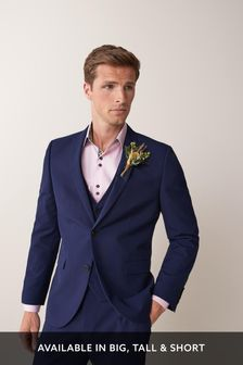 Bright Blue Tailored Fit Two Button Suit: Jacket