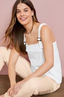 White Maternity/Nursing Buckle Strap Vest Top