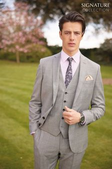 Grey Check Signature Empire Mills Fabric Slim Fit Suit: Jacket