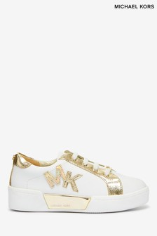 Michael Kors White With Gold MK Logo Stretch Trainers