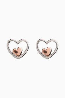 Sterling Silver Rose Gold Plated Inset Heart Stud Earrings