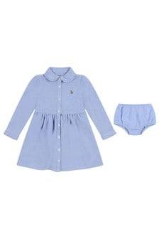 Baby Girls Blue Cotton Oxford Shirt Dress Set