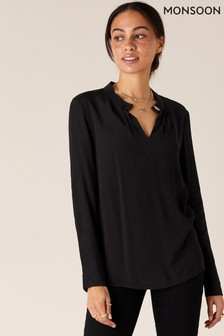 Monsoon Black Gold Button Blouse With Lenzing™ EcoVero™