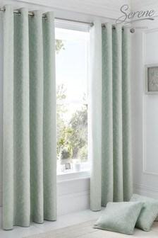 Ebony Floral Jacquard Eyelet Curtains by Serene