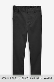 Black Regular Waist Flat Front Trousers (3-17yrs)