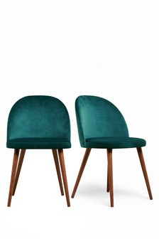Opulent Velvet Dark Teal Set of 2 Zola Dining Chairs With Walnut Effect Legs