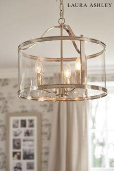 Laura Ashley Chrome Harrington 3 Light Lantern Ceiling Light