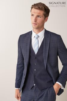 Navy Regular Fit Regular Fit Check Suit: Jacket