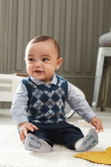 Blue Shirt, Argyle Pattern Knitted Tank And Chino Set (0mths-3yrs)