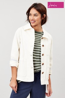 Joules White Alice Cotton Blend Jacket