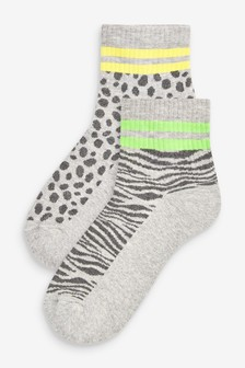 Grey Animal Cushion Sole Ankle Socks Two Pack