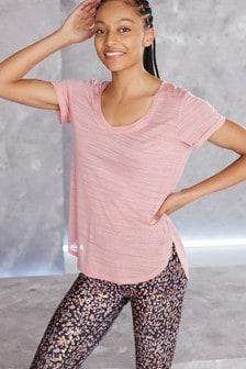 Light Pink Short Sleeve V-Neck Sports Top