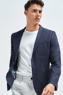 Navy Slim Fit Linen Blend Blazer