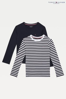 Tommy Hilfiger Blue Long Sleeve Striped T-Shirt 2 Pack