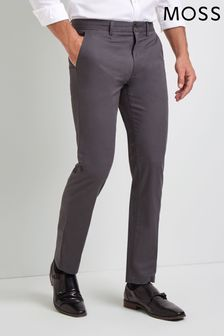 Moss 1851 Tailored Fit Graphite Grey Stretch Chino Trousers