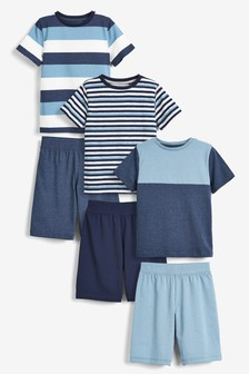 Blue 3 Pack Stripe Short Pyjamas (3-16yrs)