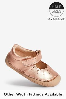 Rose Gold Pink Leather Standard Fit (F) Crawler Mary Jane Shoes