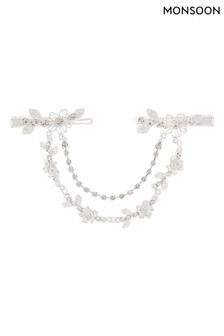 Monsoon Silver Floral Sparkle Joined Hair Clips