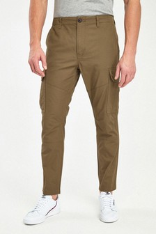 Stone Straight Fit Cotton Cargo Trousers