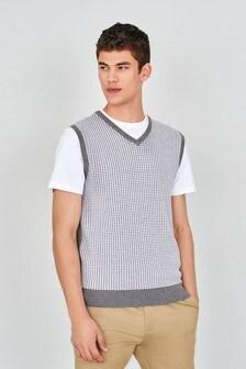 Grey Check Sleeveless V-Neck Jumper