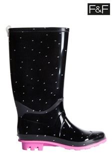 F&F Black Polka Dot PVC Wellies
