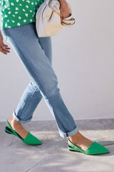 Green Asymmetric Point Slingback Shoes