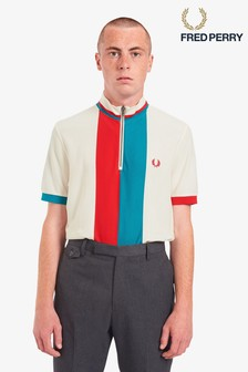 Fred Perry White Stripe Funnel Neck Polo Shirt