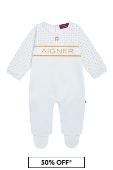 Aigner Baby Boys Blue Cotton Boys Babygrow